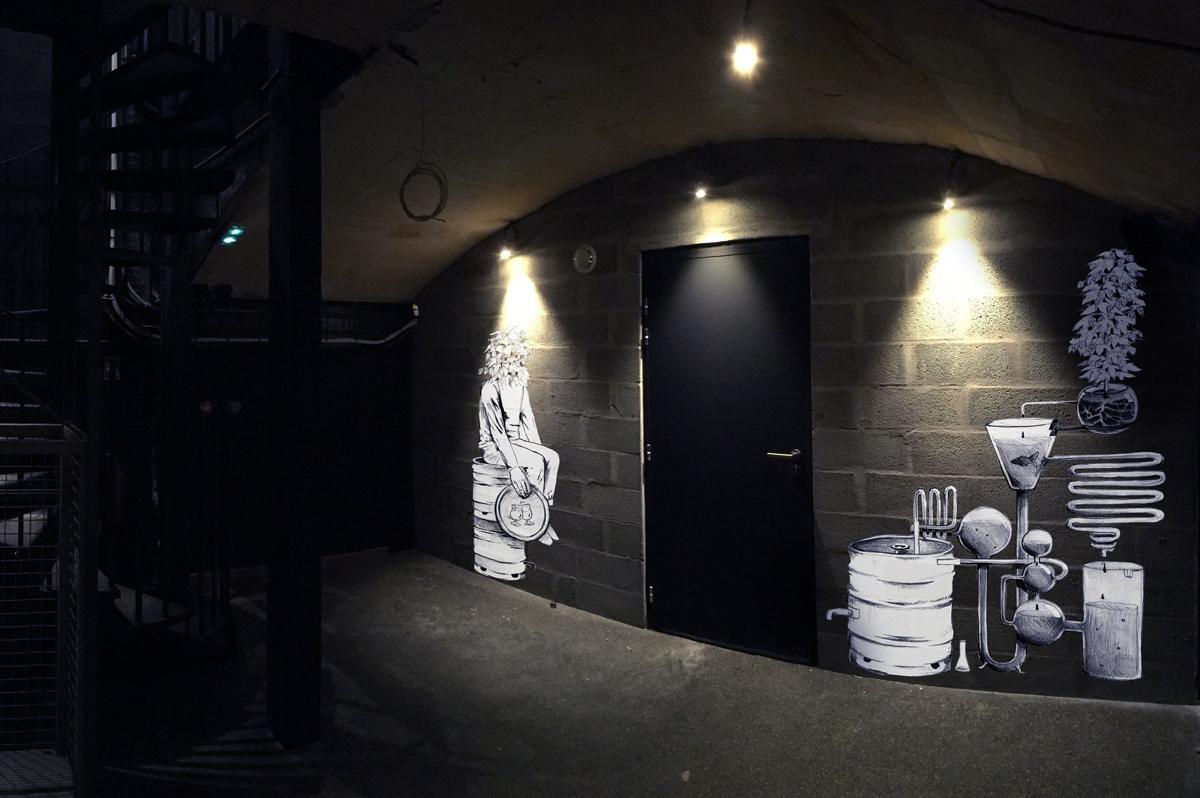 Aménagement d'intérieur pour 4 établissements de Berthom en France — Création originale de fresques par des street-artists. Maison·g, 2017