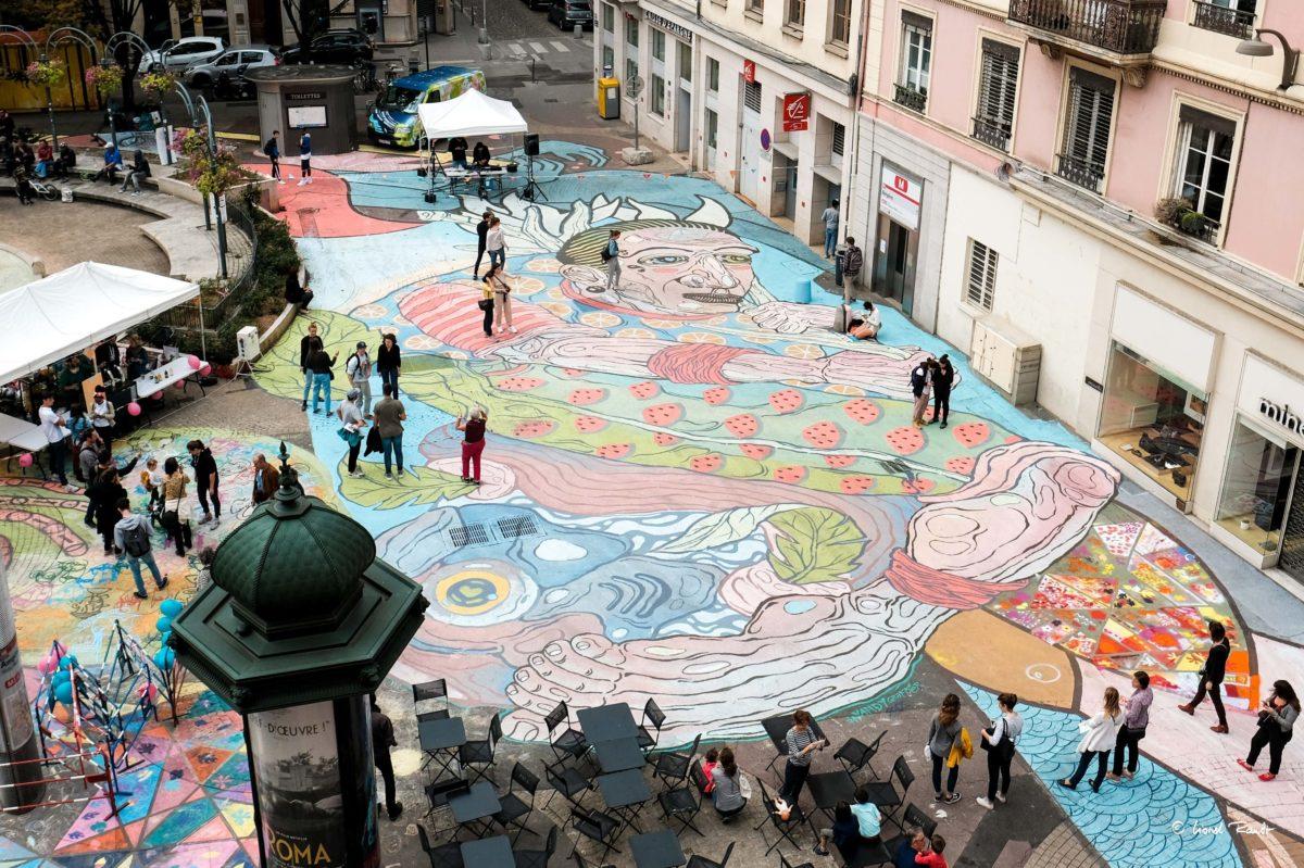 Fresque Rue Victor Hugo par Maison·g x Superposition pour My Presqu'île