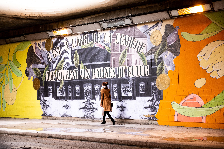 Fresque SPL Part Dieu par Maison·g avec les artistes Doa et Madame