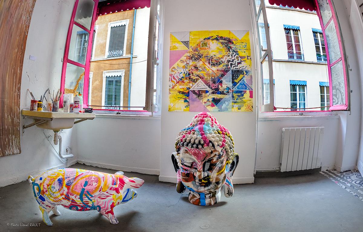Taverne Gutenberg, résidence artistique éphémère (2015-2018) par Maison·g, agence conseil artistique Lyon. Photo par Lionel Rault